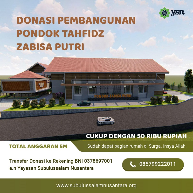 subulussalamnusantara.org donasi pembangunan pondok tahfidz zabisa putri temanggung